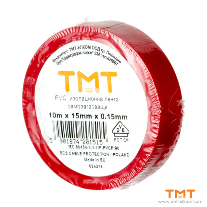Picture of PVC Tape 15mmx10m red 10pcs/rol